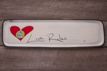Love Rules Long Rectangle Tray