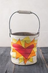 Flaming Heart Bucket (Orange or Violet Flames) (Small/Large)