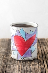 Flaming Heart Cup (Orange or Violet Flames)