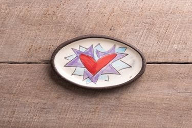 Flaming Heart Mini Oval Tray (Orange or Violet Flames)