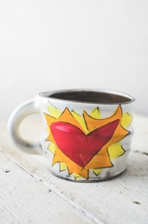 Flaming Heart Mug (Orange or Violet Flames)