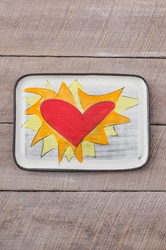 Flaming Heart Rectangle Plate (Orange or Violet Flames)