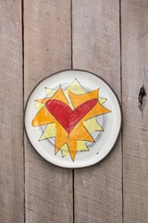 Flaming Heart Round Plate (Orange or Violet Flames) (Small/Large)