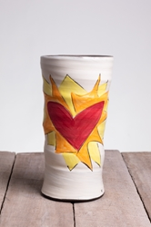 Flaming Heart Round Vase (Orange or Violet Flames)