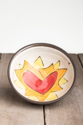 Flaming Heart Small Bowl (Orange or Violet Flames)