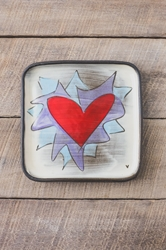 Flaming Heart Square Plate (Small/Large - Orange or Violet Flames)