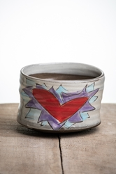 Flaming Heart Tea Bowl (Orange or Violet Flames)
